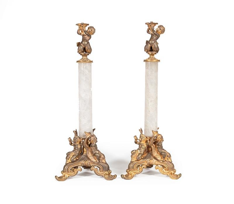 French Rock Crystal, Bronze Figural Candlesticks