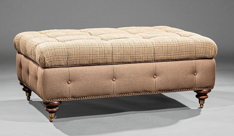 Ralph Lauren Mahogany and Button Tufted Ottoman