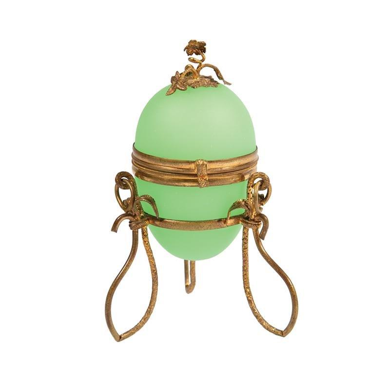 Gilt Metal-Mounted Green Opaline Glass Box