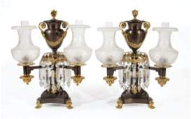 J & I Cox Gilt and Patinated Bronze Argand Lamps