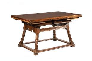 Carved Mahogany and Oak DrawLeaf Table