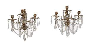Gilt Bronze and Cut Crystal Sconces