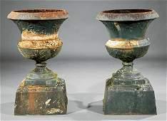 Pair of American Cast Iron Garden Urns