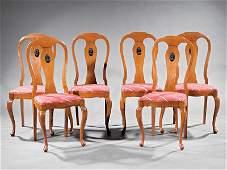 Parcel Ebonized Carved Oak Side Chairs