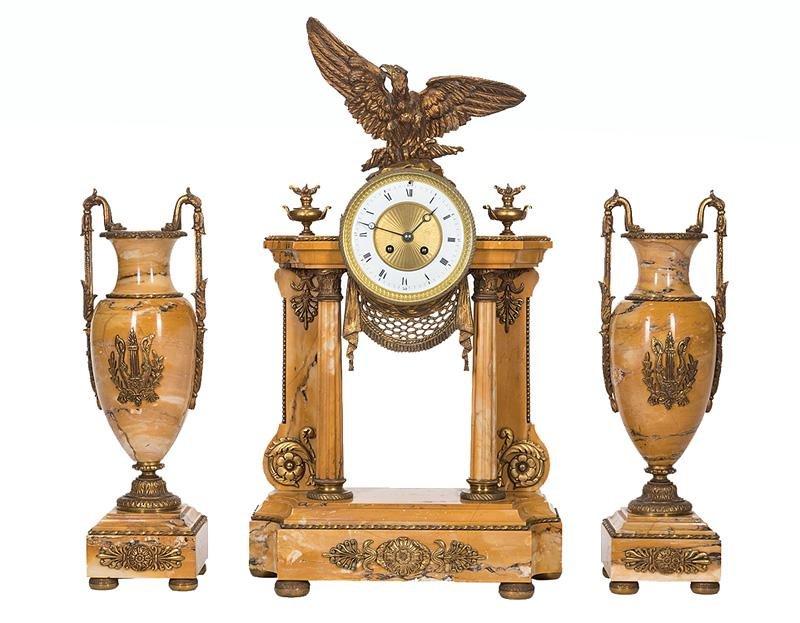 Bronze-Mounted Sienna Marble Clock Garniture