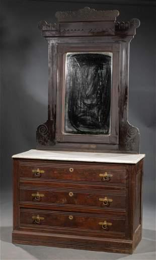 Eastlake Carved and Incised Mahogany Dresser