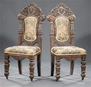 Renaissance Revival Carved Oak Side Chairs