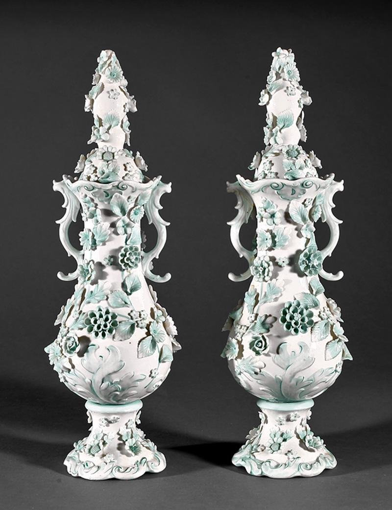 American Green and White Porcelain Covered Urns