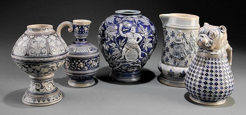 Salt Glazed Cobalt Stoneware Vessels