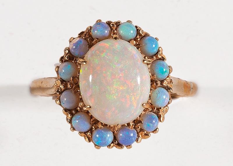 9 kt. Yellow Gold and Opal Cluster Ring