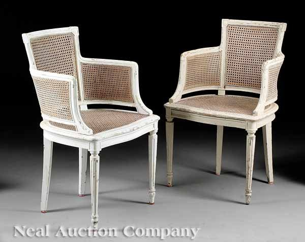 3: Pair of  Creme Peinte French Chairs