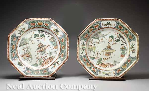 12: Pair of Kangxi Famille Verte Dishes