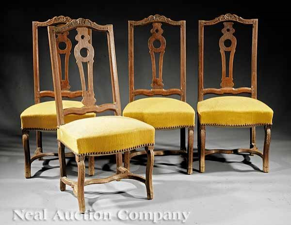 17: Four Louis XIV Carved Fruitwood Side Chairs