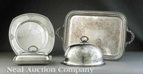 Sheffield Tray, Entree Dish, And Poultry Dome