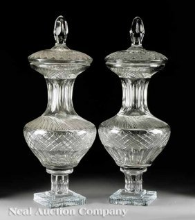 Pair Of Continental Cut Crystal Lidded Urns