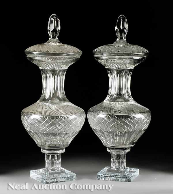 48: Pair of Continental Cut Crystal Lidded Urns