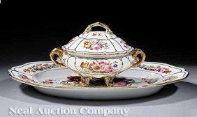 Paris Porcelain Lidded Tureen And Platter