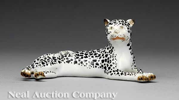 53: Meissen Figure of a Recumbent Leopard