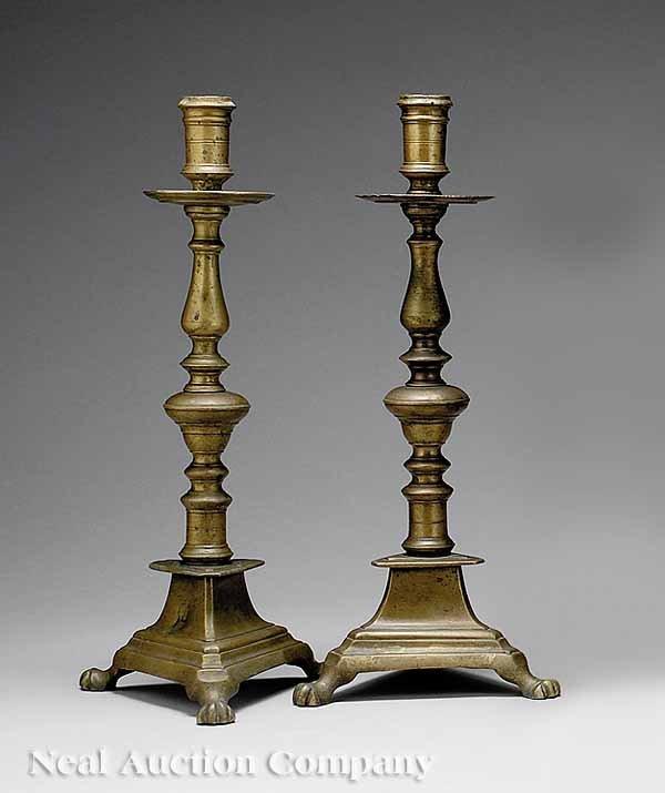 54: Pair of  Spanish Brass Candlesticks