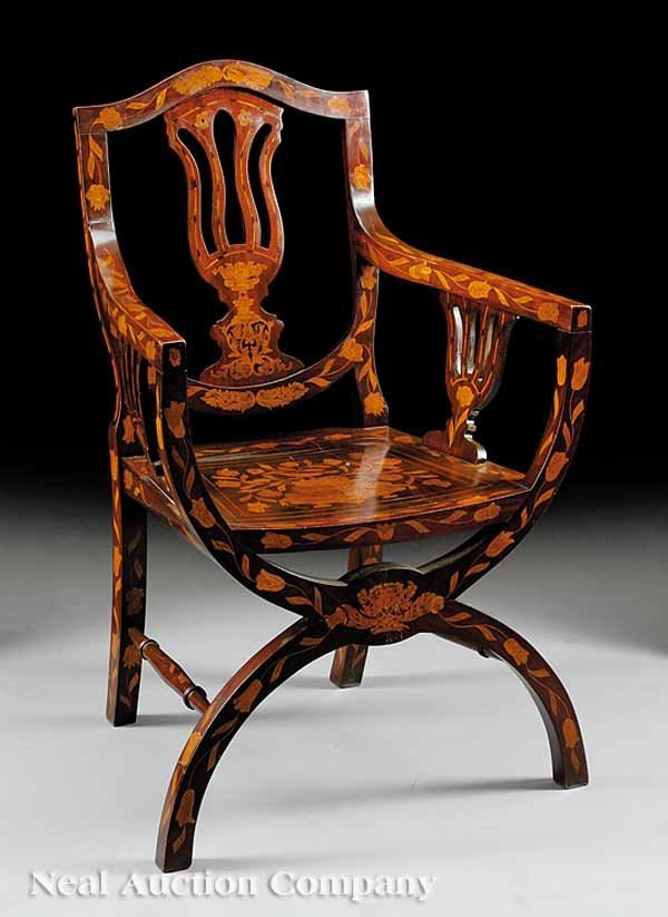 56: Dutch Classical Inlaid Mahogany Armchair