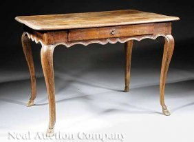 Provincial Louis XV Carved Walnut Tea Table