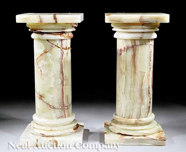 58: Pair of Variegated White Onyx Pedestals