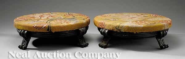 59: Pair of Continental Patinated Bronze Tuffets