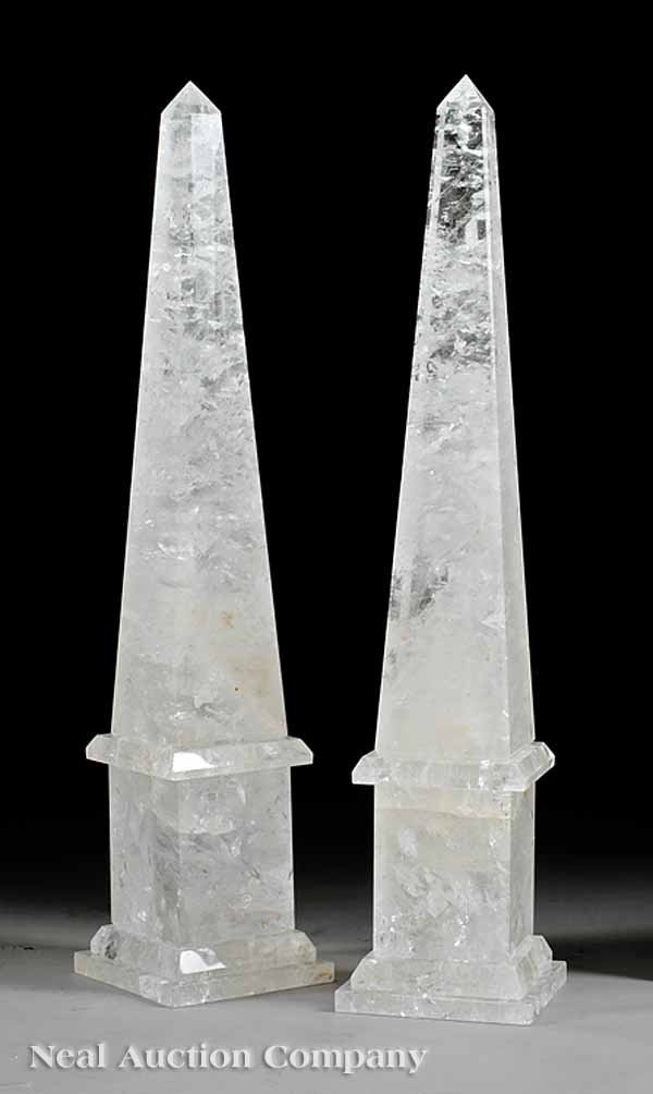 61: Pair of Classical-Style Rock Crystal Obelisks