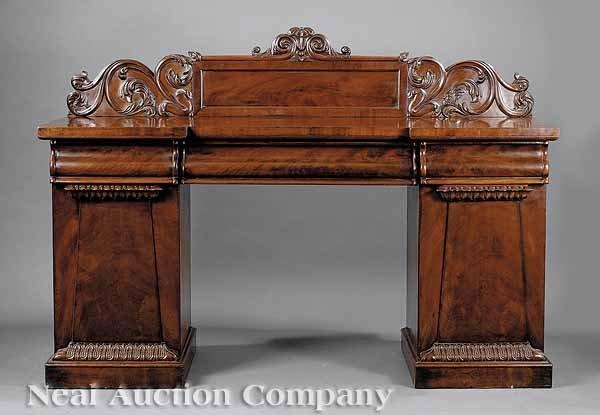 68: Late Regency Carved Mahogany Sideboard
