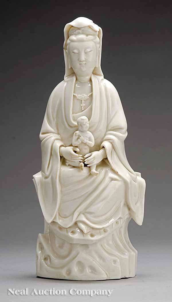 253: Chinese Blanc-de-Chine Dehua Figure of Guanyin