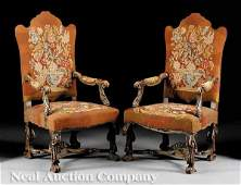 420 Pair of RenaissanceStyle Carved Walnut Armchairs