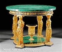 438: Empire-Style Gilt Bronze and Malachite Table