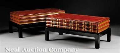 451 Pair of Tooled Morocco Leather Low Tables