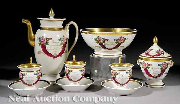 762: Paris Porcelain Polychrome, Gilt Coffee Service