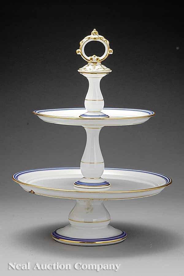 763: Paris Porcelain Two-Tier Dessert Stand
