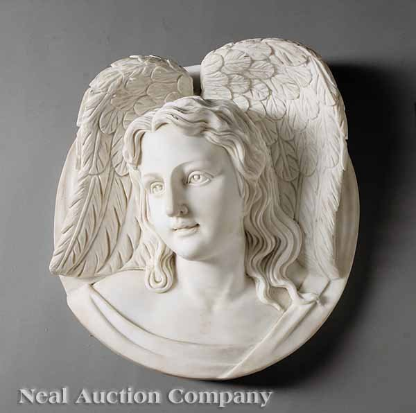 764: Italian White Carrara Marble Angel Plaque