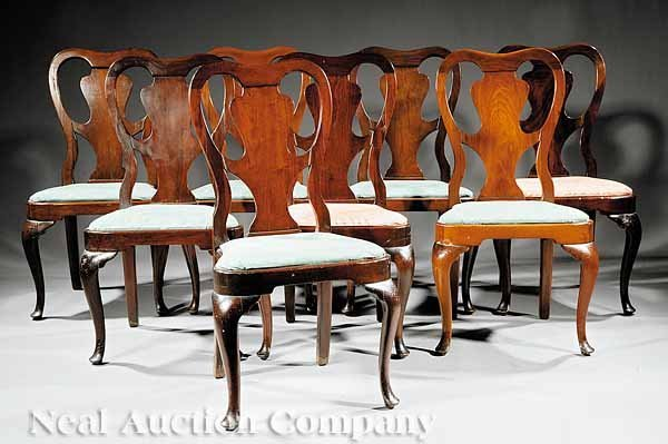 766: Eight Carved Mahogany Dining Chairs