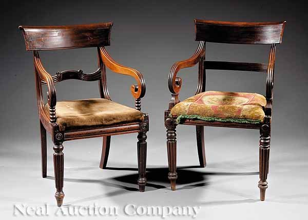767: Two Regency Carved Mahogany Armchairs