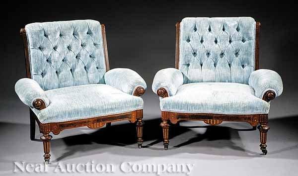 771: American Renaissance Walnut Ladies' Armchairs