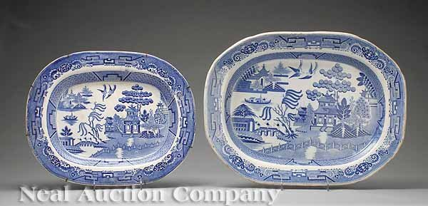 772: Two English Blue-and-White Ironstone Platters