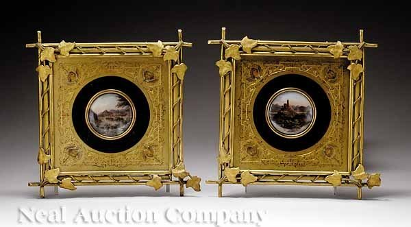 773: Pair of Continental Polychromed Porcelain Plaques