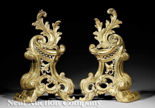 774: Pair of French Polished Brass Andirons