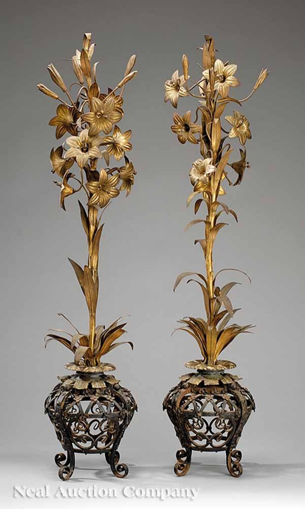 775: Two-Piece Wrought Iron and Gilt Brass Garniture