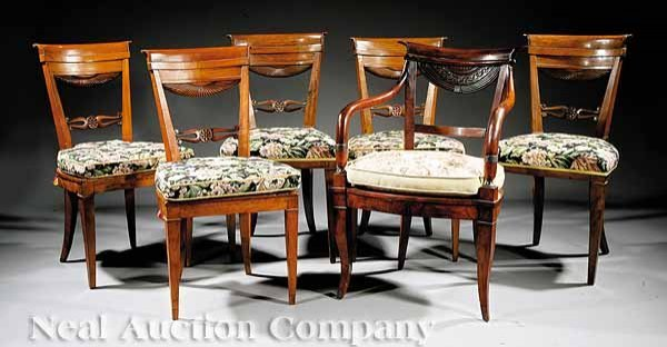 777: Six Italian Carved Fruitwood Dining Chairs