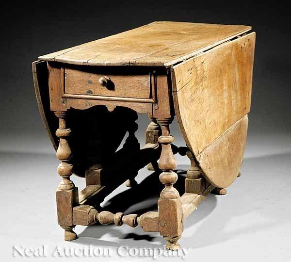 779: French Baroque Oak or Elm Drop-Leaf Dining Table