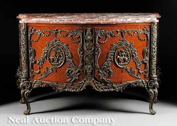 781: Parquetry, Patinated Bronze-Mounted Commode