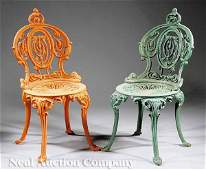 1134: Pair of American Cast Iron Garden Chairs