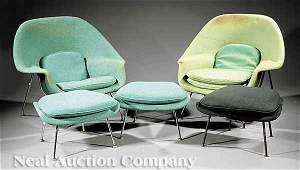 1271: Pair Eero Saarinen Womb Chairs, Matching Ottomans