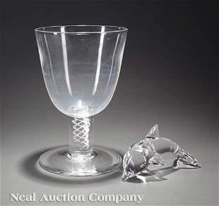 Steuben Glass Giant Airtwist Spiral Stem Goblet