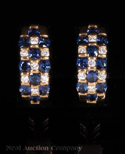 Yellow Gold, Sapphire and Diamond Clip Earrings